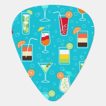 Beach Themed Cocktail Pattern on Teal Background Guitar Pick