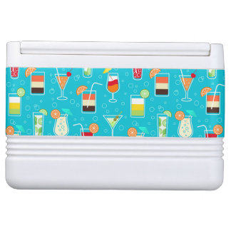Cocktail Pattern on Teal Background Igloo Cooler