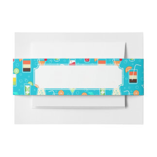 Cocktail Pattern on Teal Background Invitation Belly Band