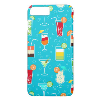 Cocktail Pattern on Teal Background iPhone 7 Plus Case
