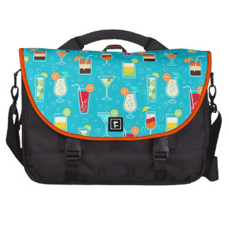 Cocktail Pattern on Teal Background Commuter Bags