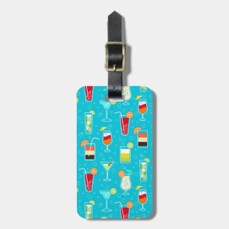 Cocktail Pattern on Teal Background Luggage Tags