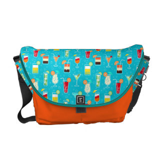 Cocktail Pattern on Teal Background Courier Bags