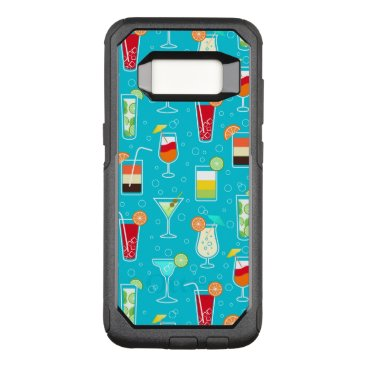 Beach Themed Cocktail Pattern on Teal Background OtterBox Commuter Samsung Galaxy S8 Case