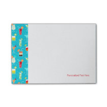 Cocktail Pattern on Teal Background Post-it Notes