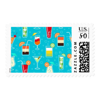 Cocktail Pattern on Teal Background Postage