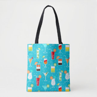 Cocktail Pattern on Teal Background Tote Bag
