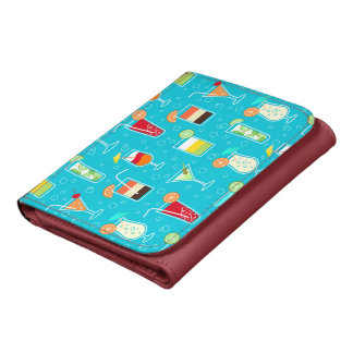 Cocktail Pattern on Teal Background Wallets