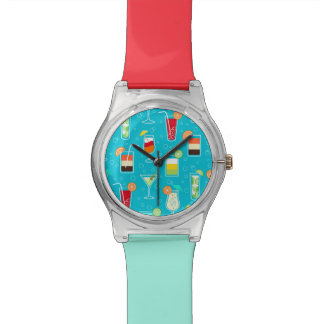 Cocktail Pattern on Teal Background Watches
