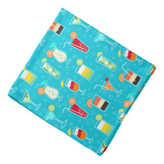 Cocktail Pattern on Teal Background Kerchiefs