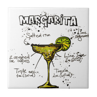 Cocktail Recipe Margarita Ceramic Tile