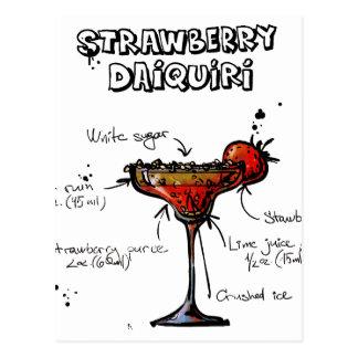 Cocktail Recipe Strawbeery Daiquiri Postcard