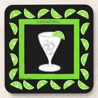 Cocktail Retro Drink Art Green Limes on Black Beverage Coaster