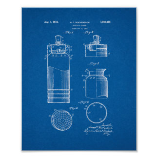 Cocktail Shaker Patent - Blueprint Poster