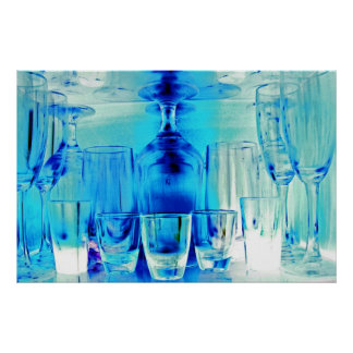 Cocktail Shot and Wine Glasses - Blue Tint Poster