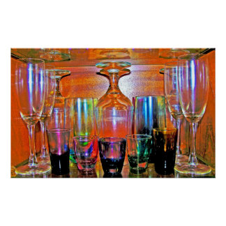 Cocktail Shot and Wine Glasses - Natural Style Poster