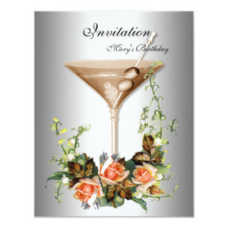 Cocktail  Silver Invitation flowers