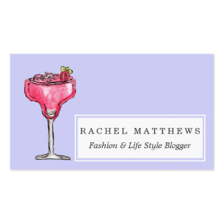 Cocktail Strawberry Daiquiri Red Watercolor Paint Business Card