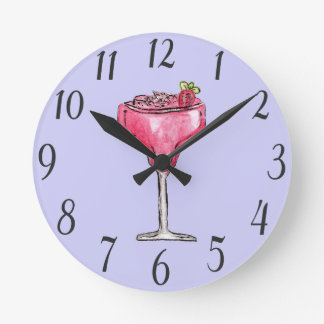 Cocktail Strawberry Daiquiri Red Watercolor Paint Round Clock