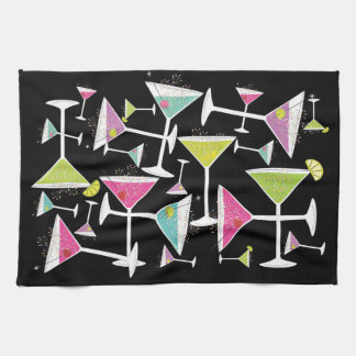 Cocktail Time Colorful Drinks in Martini Glasses Hand Towel