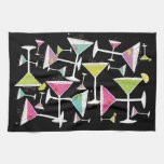 Cocktail Time Colorful Drinks in Martini Glasses Kitchen Towels