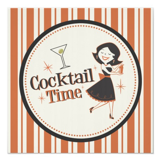 Cocktail Time Invitation - Stripes