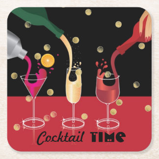 Cocktail Time Paper Coasters Square Paper Coaster