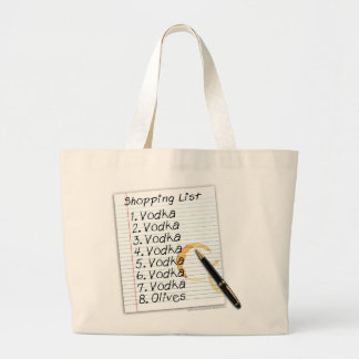 COCKTAIL TOTES, VODKA SHOPPING LIST LARGE TOTE BAG
