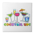 """COCKTAIL UP GLASSES TILE - COASTER - TRIVET<br><div class=""""desc"""">COCKTAIL UP! A bar full of the various cocktail glasses filled with a party full of drinks in a rainbow of colors in a whimsical and colorful style.</div>"""