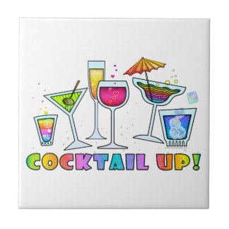 COCKTAIL UP GLASSES TILE - COASTER - TRIVET
