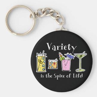 Cocktail Variety Basic Round Button Keychain