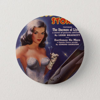 Cocktail Waitress in Space Pinback Button