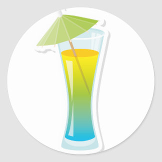 Cocktail with umbrella classic round sticker
