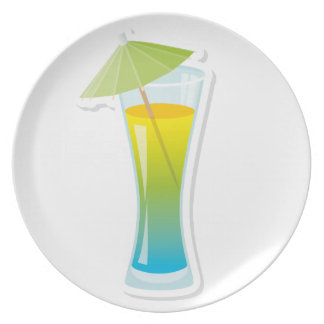 Cocktail with umbrella party plate