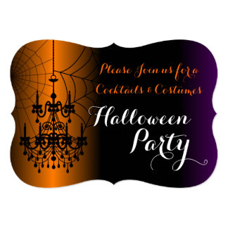 Cocktails and Costumes Chandelier Halloween Party Card