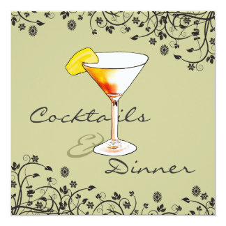 Cocktails And Dinner Birthday Party Card