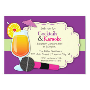 Karaoke party invitations zazzle cocktails and karaoke birthday party invitation stopboris Choice Image