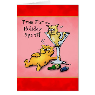 Cocktails and Kittens Cartoon Christmas Card