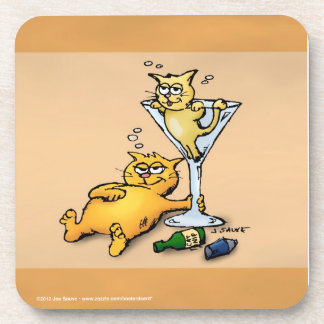 Cocktails and Kittens Gold Funny Coasters