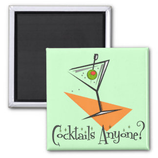 Cocktails Anyone? 2 Inch Square Magnet