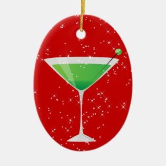 Cocktails Anyone? by SRF Double-Sided Oval Ceramic Christmas Ornament