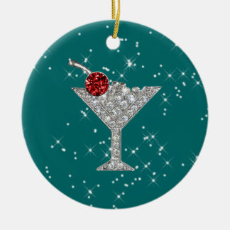 Cocktails Anyone? by SRF Double-Sided Ceramic Round Christmas Ornament
