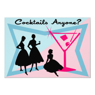 "Cocktails Anyone? Response Card 3.5"" X 5"" Invitation Card"