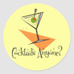 Cocktails Anyone? Round Stickers