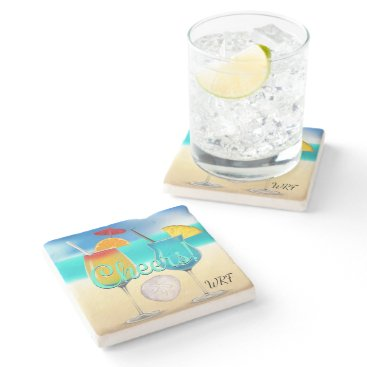 Beach Themed Cocktails Beach Monogram Coaster