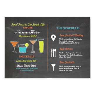 Cocktails Bridal Shower Itinerary Bachelorette Card