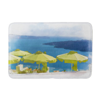 Cocktails by the Sea Greece Painting Bath Mat