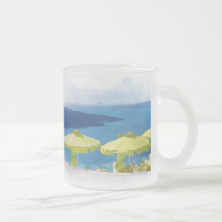Cocktails by the Sea Painting Frosted Glass Coffee Mug
