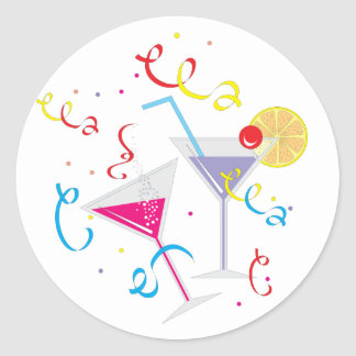 Cocktails For Two Classic Round Sticker
