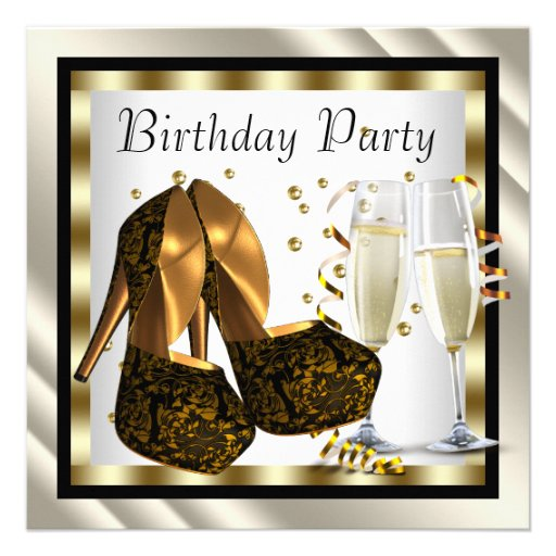 Cocktails Heel Shoes Womans Elegant Birthday Party Invitations
